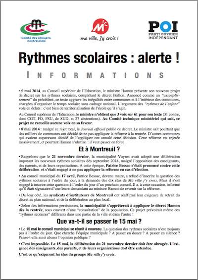 montreuil rythmes scolaires
